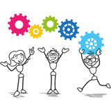 Stick figure cogs teamwork strategy. Vector stick figure illustration: Stick man group teamwork with colorful cogs Royalty Free Stock Image