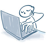 Stick figure at the computer Stock Images