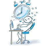 Stick figure at a computer and time pressure stock illustration