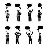 Stick figure couple dialog set. Vector illustration of employee speech bubble conversation on white Royalty Free Stock Photography