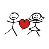 Stick figure couple with heart Royalty Free Stock Photo