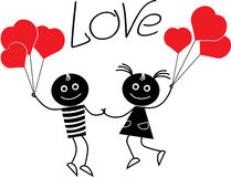 Stick figure couple love, valentine's day royalty free illustration