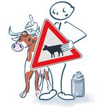 Stick figure with cow, sign and milk can royalty free stock photography