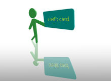 Stick Figure and Credit Card Royalty Free Stock Photo