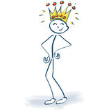 Stick figure with crown and customer king Stock Photography