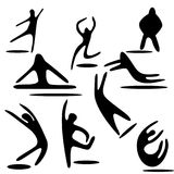 Stick figure dancing and jumping. Nine elements. hand drawn. isolated Royalty Free Stock Images