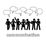 Stick figure dialog communication speech bubbles set. Talking, thinking, body language group of people conversation pictogram. Stick figure dialog communication stock illustration