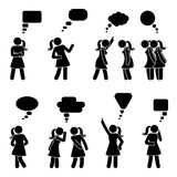 Stick figure dialog speech bubbles set. Talking, thinking, whispering body language woman conversation icon pictogram. Stick figure dialog speech bubbles set Royalty Free Stock Image