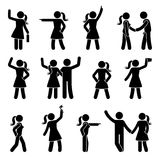 Stick figure different arms position set. Pointing finger, hands in pockets, waving person icon posture symbol sign pictogram. Stick figure different arms stock illustration
