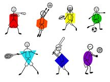 Stick figure different kind of sports set Royalty Free Stock Image