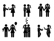 Stick figure different romantic position set. Vector illustration of male and female in love icon symbol sign pictogram on white. Stick figure different Stock Photos