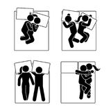 Stick figure different sleeping position set. Vector illustration of different dreaming couple poses icon symbol pictogram on. Stick figure different sleeping Stock Image