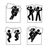 Stick figure different sleeping position set. Vector illustration of different dreaming couple poses icon symbol sign pictogram. Stick figure different sleeping Stock Photography