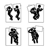 Stick figure different sleeping position set. Vector illustration of different dreaming couple poses icon symbol sign pictogram. Stick figure different sleeping Stock Images