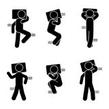 Stick figure different sleeping position set. Vector illustration of dreaming person icon symbol sign pictogram on white. Stick figure different sleeping Royalty Free Stock Photography