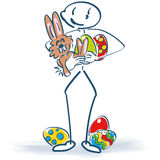 Stick figure with easter bunny and easter eggs Royalty Free Stock Photo