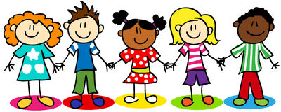 Stick figure ethnic diversity kids. Fun stick figure cartoon kids, little boys and girls, ethnic diversity Royalty Free Stock Photos