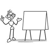 Stick figure explaining pointing blank board Royalty Free Stock Image