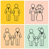 Stick figure family creation. A set of four pictures. Stages of formation of the family Royalty Free Stock Photo