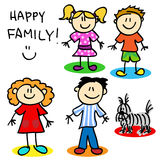 Stick figure family. Fun stick figure cartoon family, father, mother, little girl, little boy and dog Stock Images