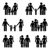 Stick figure family icon set. Vector illustration of people in different age on white royalty free illustration