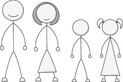 Stick Figure Family Set Royalty Free Stock Images