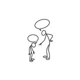 Stick figure Father scolding his son. Vector Stock Image