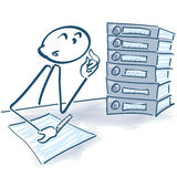 Stick figure with files and overtime. Stick figure with files, bureaucracy and overtime Royalty Free Stock Photos