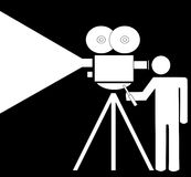 Stick figure filming movie Stock Images