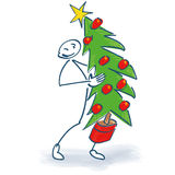 Stick figure with a fir tree. Or Christmas tree Stock Image
