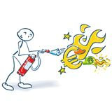 Stick figure with fire extinguisher and burning euro. Stick figure with fire extinguisher and big burning euro Stock Photo