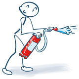 Stick figure with with fire extinguisher Royalty Free Stock Images