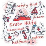 Stick figure first aid and help. From the doctor Royalty Free Stock Photo