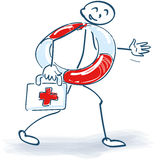 Stick figure with first aid. And lifebelt stock photography