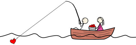 Stick Figure Fishing For Hearts. Cute and Romantic Illustration of Stick Figures Sitting on Boat Fishing for Hearts Stock Image