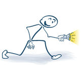 Stick figure with flashlight Royalty Free Stock Image