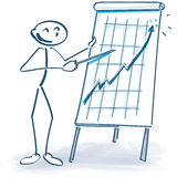 Stick figure with a flip chart and it goes up Royalty Free Stock Image