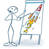 Stick figure with a flip chart and rocket Royalty Free Stock Images