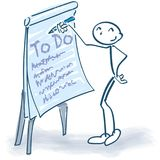 Stick figure with flip chart and ToDo list. Stick figure with flip chart and long  ToDo list Royalty Free Stock Photos