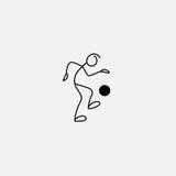 Stick figure footballer. Kicking icon vector Stock Photography
