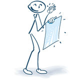 Stick figure with a fresh poster Royalty Free Stock Photography
