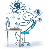 Stick figure and frustration at the computer. Work Stock Photography