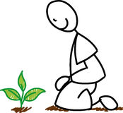 Stick figure gardener planting. Artistic stick figure gardener kneeling next to a green plant in a garden Royalty Free Stock Photography