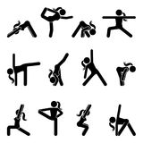 Stick figure girl basic yoga position set. Vector illustration of sportswoman pictogram on white Royalty Free Stock Photo