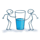 Stick figure with the glass is half full or half empty
