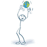 Stick figure with a globe Stock Images