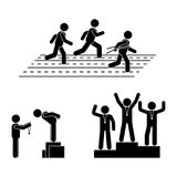 Stick figure gold, silver, bronze medal receiving award vector icon. Reward prize man pictogram. Black and white running sport posture competition Stock Photo