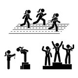 Stick figure gold, silver, bronze medal receiving award vector icon. Reward prize woman pictogram. Black and white running sport posture competition Royalty Free Stock Photography