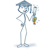 Stick figure with graduation Royalty Free Stock Photography