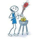 Stick figure with grilling meat Stock Photos